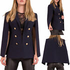 Womens Blue Collared 4 Button Cape Blazer Ladies Long Sleeve Jacket Size 8-14