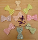 "GIRLS PARTY SPARKLE PASTEL FROSTED GLITTER 2.8"" HAIR BOW BOWS CLIP SLIDE GRIP"