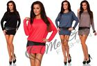 Womens Mini Dress Boat Neck Batwing, Long Sleeve Tunic Shift Dress Size 8-12,454
