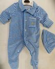 Baby boys babygrow velour sleepsuit  M & S newborn up to 3.2kg 7 lbs striped hat