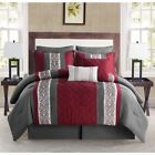 Queen King Bed Burgundy Red Gray Grey Stripe Embroidered Pleat 8pc Comforter Set