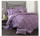 Queen King Bed Solid Purple Ruched Pintuck Pleat 3 pc Comforter Set Bedding