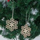 Round Hexagonal Wooden Snowflake Hanging Ornament Decoration Xmas Home Tree