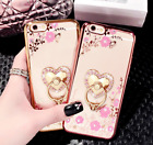 Bing Diamond Crystal Flowers Ring Holder Stand Soft Case For iPhone 8/8 Plus/X