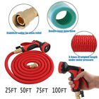 25/50/75/100 feet Expandable  Garden Water Hose Pipe w/ Nozzle+Connector Red SW