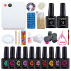 Nail Gel Polish Starter Kit Deluxe Accessories 36W UV Lamp Soak Off Gel Nail Kit
