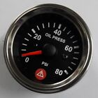 Electronic Oil Pressure Gauge PSI with Warning Spin Lock Mounting 52mm 80Chrome