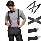 Wide 4 clips Adjustable Elastic Men Suspenders Clip-On Wedding Braces EN24H 01