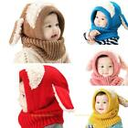 Baby Toddler Winter Beanie Warm Hat Hooded Scarf Earflap Knitted Cap Boys Lot