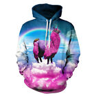 Unisex Creativity Graphic Pink Alpaca Couples 3D Hoodie Pullover Tops