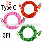 [3 Pack] 3FT  Nylon Braided Rope USB-C Type-C Data Sync Charger Charging Cable