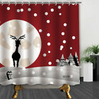 Christmas Moose And Snow In Red Bathroom Fabric Shower Curtain Set 71Inch
