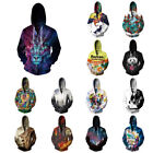 Casual Unisex 3D Printed Hoodies Sweater Sweatshirt Workout Zipper Up Hoodie