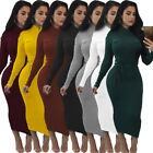 2017 Women Fashion Sexy Long Sleeve Ribbed Knitted Bodycon Slim Sweater Dress