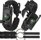 2 SHARP Paracord Bracelet 4pcs set Survival Gear Kit - Compass, Fire Starter