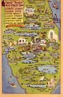 1952 COLORFUL FLORIDA'S MOST COLORFUL SPOTS - MAP OF SEVEN ATTRACTIONS