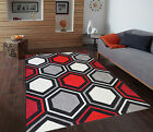 NEW Grey Red Brown Modern Soft Thick Carved Medium Large Floor Carpets Rug