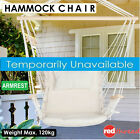 Hammock Armrest Chair Indoor Hanging Swing Outdoor Garden Camp Cream + Cushion