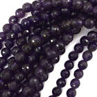 "Faceted Amethyst Round Beads Gemstone 15.5"" Strand 3mm 4mm 6mm 8mm 10mm 12mm"