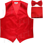 Used, New Men's formal wedding Slim Fit Tuxedo vest Waistcoat_bow tie & hankie red for sale  Shipping to Nigeria