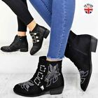Ladies Womens Studded Western Ankle Boots Cuban Heel Vintage Cowboy Shoes Size