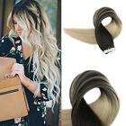 dark blonde hair ombre - 20pcs Seamless Tape in Hair Extensions Dark Brown Platinum Blonde Ombre Ship USA