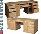 Solid Pine Traditional Large Twin Pedestal Computer Desk with Filing Drawers
