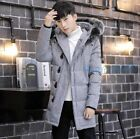 Fashion Men Warm Fur Hooded Cotton Padded Quilted young Coat Jacket Parka Size