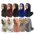 COTTON JERSEY Lace Scarf Hijab Wrap Shawl Muslim Head cover Unstitched 180cm*90c