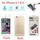 Premium Front and Back Tempered Glass Film Screen Protector Fr iPhone 6 7 7+ 8 X