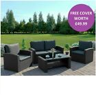 Black Rattan Garden Furniture Sofa Armchair Chair Coffee Table Set FREE COVER