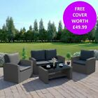 Black Rattan Weave Garden Furniture Sofa Armchair Chair Table Set Free Cover