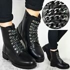 Womens Ladies Stud Ankle Boots Punk Biker Chain Army Combat Chunky Flat Size