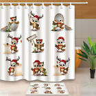 Funny Christmas Birds Owl Picture Bathroom Fabric Shower Curtain Set 71Inch