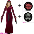 LADIES MEDIEVAL RED WOMAN VAMPIRESS WITCH PRIESTESS WOMENS COSTUME AND GLITTER