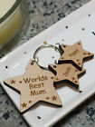 PERSONALISED CHRISTMAS GIFT MOTHERS DAY WOODEN KEYRING WORLDS BEST MUMMY NANNY