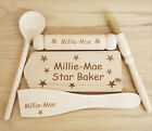 PERSONALISED CHILDRENS BAKING SET FOR KIDS STAR BAKER CHRISTMAS GIFT ROLLING PIN