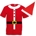 MENS ADULTS SANTA CLAUS T SHIRT TOP & HAT PIXIE CHRISTMAS XMAS FANCY DRESS