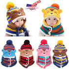 Newest Cute Winter Baby Kids Girls Boys Warm Woolen Coif Hood Scarf Caps Hats