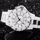 Men's Women LED Waterproof Sport Stainless Steel Band Quartz Watch Black White