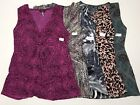 Daisy Fuentes Women's Printed Knot Front V Neck Sleeveless Knit Top Blouse NWT