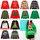 Womens Mens Xmas Christmas Novelty Knitted Santa Face Jumper Sweater Tops Newest