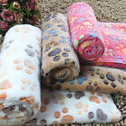 TOP Warm Pet Mat Small Large Paw Print Cat Dog Puppy Fleece Soft Blanket Cushion