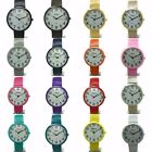 Mens Ladies Eikon Round Case Numbers Colorful Stretch Elastic Band Watch STM image
