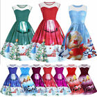 Women Santa Christmas Party Dress Vintage Xmas Swing Lace Panel Skater Dress New