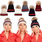 Ladies New Real Fur Pom Pom Knitted Green Red Stripe Winter Hat