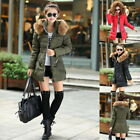 Winter Women Hoody Quilted Coat Warm Parka Slim Jacket Fur Collar Long Outerwear