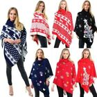 NEW KNITTED CHRISTMAS TREE SNOWFLAKE COLLAR LADIES PONCHO WRAP CAPE