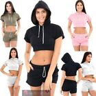 NEW WOMENS SHORT SLEEVE HOODED CROP TOP SHORTS GYM TWO PIECE SET UK 8-14