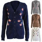 LADIES FLUFFY KNIT V-NECK BUTTON CARDIGAN FUR LOOK MOHAIR LONG WARM WOMENS TOP